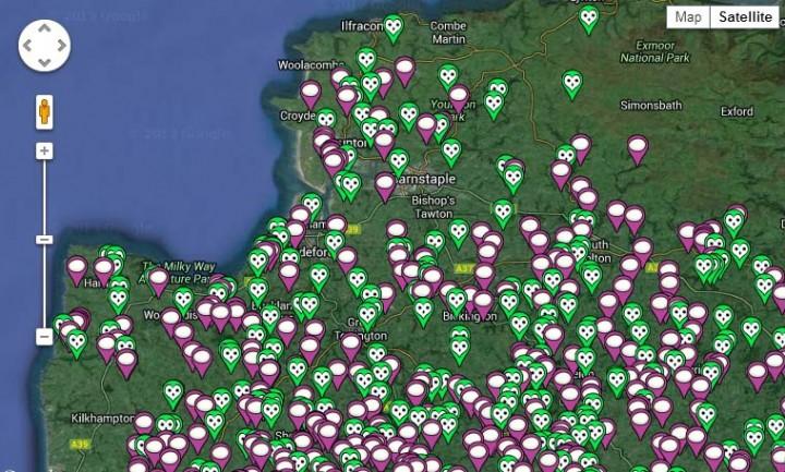 Satalite view of Devon Barn Owl data pre 2013 Copyright: Frances Jaine Ramsden
